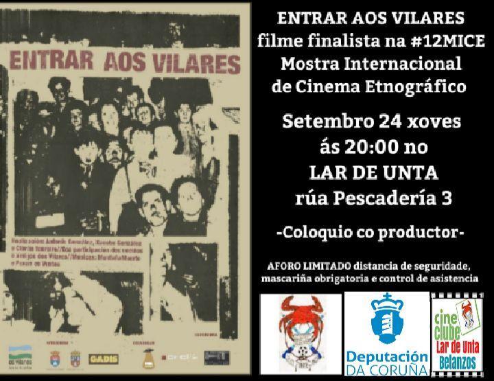 """VOLVE O CINE AO LAR DE UNTA 24/09/2020 """"Entrar aos Vilares"""""""