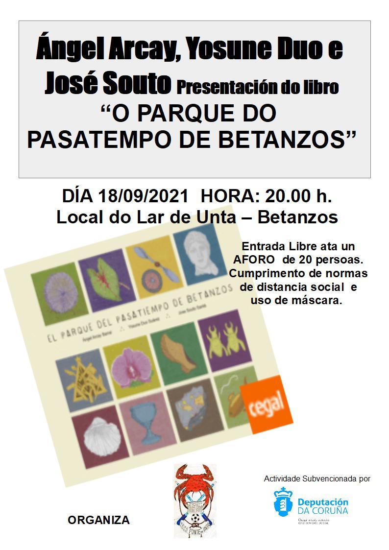 """Presentación do Libro """"O PARQUE DO PASATEMPO DE BETANZOS"""""""